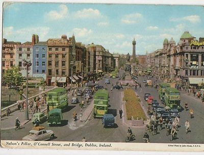 Nelsons Pillar O'Connell Street & Bridge Dublin Ireland 1961 Postcard 0918