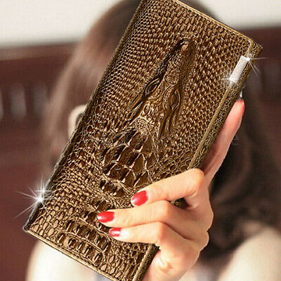 New Fashion Women Long Genuine Leather Clutch Wallet Card Holder Purse Handbag