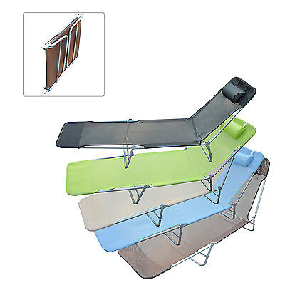 Portable Adjustable Reclining Seat Folding Garden Chaise Lounge Camping Bed
