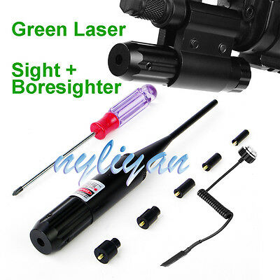 Combo Green Dot .Laser 22 to .50 Boresighter Clip Mount Sight  For Rifle Hunt