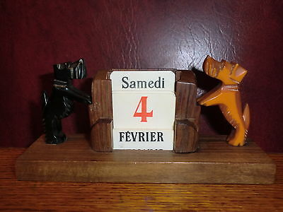 Vintage French Art Deco Bakelite Catalin Scotty Dog Calendar Not Clock Bookends