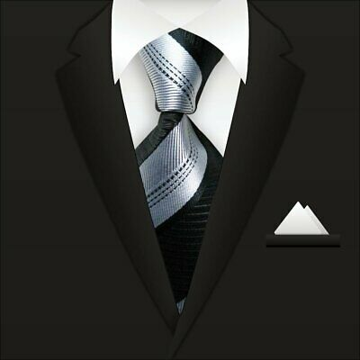 New Classic Striped WOVEN JACQUARD Silk Men's Suits Tie Necktie Black Gray N32