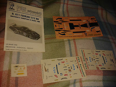 FDS Auto Models Ferrari 512BB Le Mans 1980 Instructions and decals only