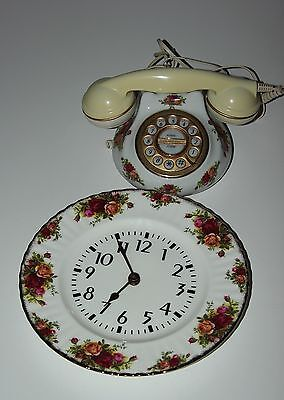 Royal Albert Old Country Roses Telephone And Wall Clock.