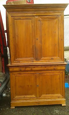 ANTIQUE LARGE FRENCH 19thc PITCHED PINE  LINEN PRESS HEAVY WITH KEYS GOOD COND.