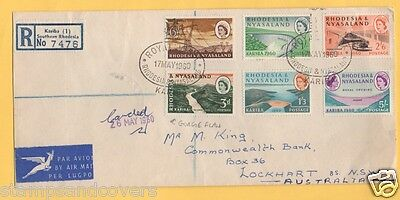 RHODESIA/NYASALAND 1960 KYABA HYDROELECTRIC FIRST DAY Cover Incl  GORGE FLAW