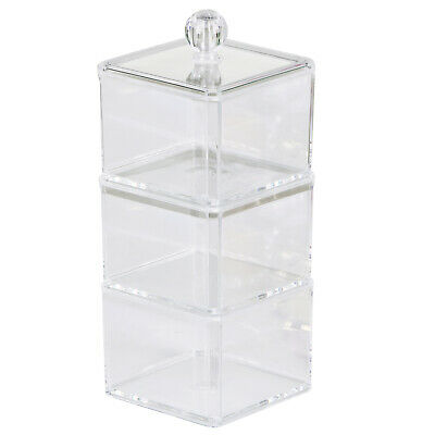 Transparent 3 Tier Stackable Compartment Cosmetic Organiser Storage Trinket Box