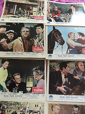 """JAMES CAGNEY, RUN FOR COVER, SET OF 8 LOBBY CARDS. UK. 10"""" x 8"""". VERY GOOD."""