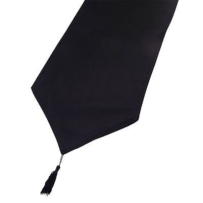 Black Linen Look Tasselled Table Runner 33Cm X 180Cm