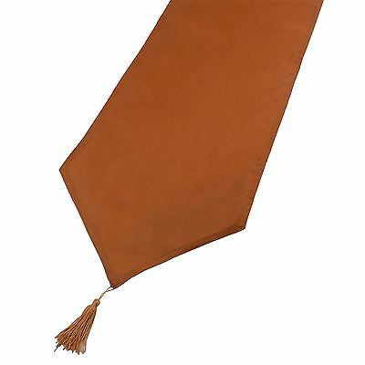 Burnt Orange Linen Look Tasselled Table Runner 33Cm X 180Cm