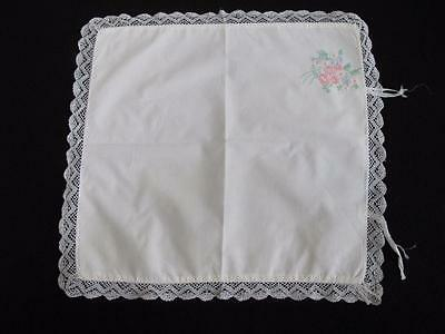 VINTAGE 1930's EMBROIDERED COTTON & CROCHET LACE BABY'S PRAM PILLOW COVER SHAMS