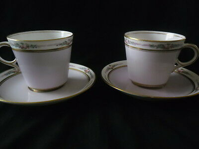 2 VINTAGE LILAC AND GUILT  CUPS AND SAUCERS very pretty hand painted flowers