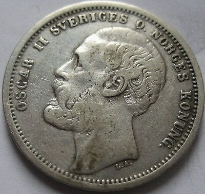 GREAT AUCTION START 1 $ SWEDEN and NORWAY OSCAR II SILVER 1 KRONA 1875 ST