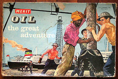 1960 Merit OIL ' The Great Adventure ' Vintage British Board Game