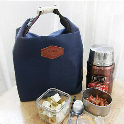 Tote Portable Insulated Pouch Cooler Waterproof Food Storage Bag Navy Nylon HOT