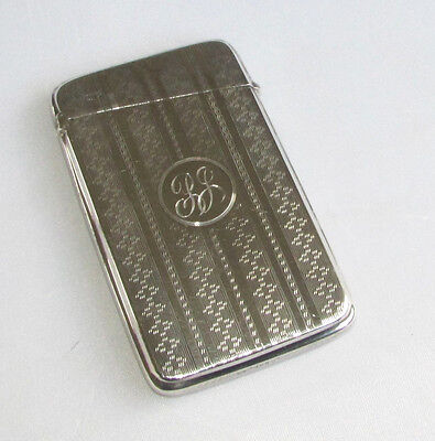 Old antique Art Deco solid silver sterling card case Chester hallmarks 1922