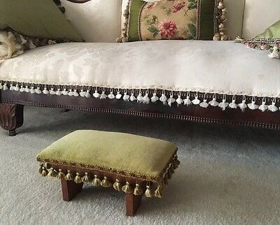 Gorgeous Vintage Victorian Style Green Velvet Upholstered Foot Stool