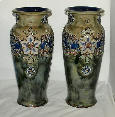 PAIR OF LARGE 14 inch ROYAL DOULTON VASES by MAUD BOWDEN