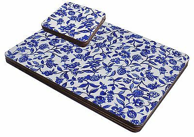 Set Of 4 Blue White Floral Berry Cork Backed Place Mats & Coasters
