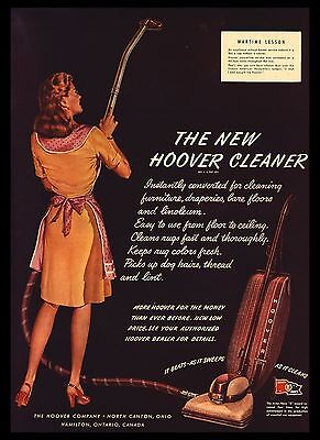"Original 1945 ""hoover Vacuum Cleaner"" Pretty Gal Canton, Ohio Art Print Ad"