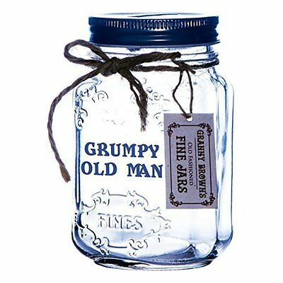 Boxer Grumpy Old Man Mason Jar Saver, Glass, Clear