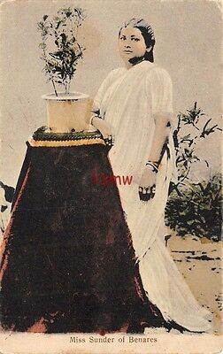 India Glamour Ethnic Miss Sunder Of Benares Native Singer Poses Printed Card