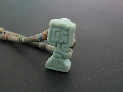 NILE  Ancient Egyptian Shu Amulet Mummy Bead Necklace ca 1000 BC