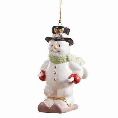 Lenox 2016 Skiing Snowman Annual Christmas Ornament New in Box MSRP $70
