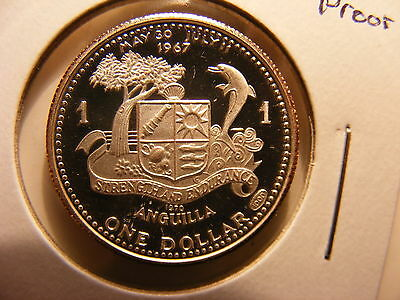 Anguilla Dollar, 1970, Silver Proof, Scarce Issue