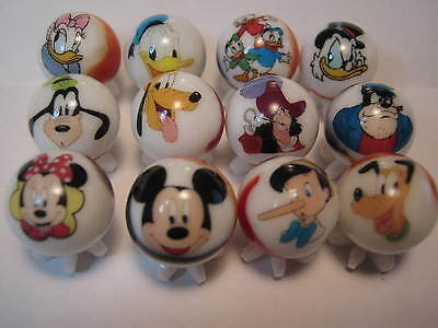 DISNEY GOOFY MICKEY PLUTO etc.mix lot collection 5/8 size glass marbles+ STANDS