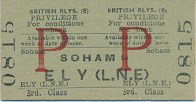 BR - SOHAM to ELY (L.N.E) railway ticket 0815 (Ely to Newmarket Line Stns)