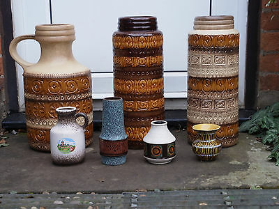 60-70's SCHEURICH Job lot 9x Jug Vase West Germany Fat Lava for collection only