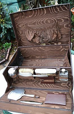 1935 Finnigan Manchester Leather Suitcase & Silver W Neale & Son Bham Vanity Set