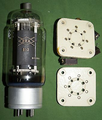 813 radio valve tube & two sockets High voltage, low current beam tetrode