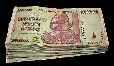 20 x Zimbabwe 200 million Dollar banknotes-circulated currency 1/5 bundle