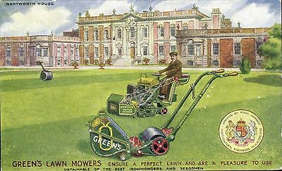 Advertising. Green's Lawn Mowers, Leeds & London. Wentworth House.