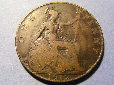 A 1912H Heaton Mint George V One Penny Coin -  nice condition Rare Type