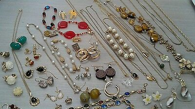 545 g gold filled jewelry lot, pre owned, scrap, wear, stones, beads, pearls,