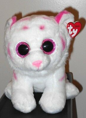 "Ty Classic ~ TABOR the Tiger White/Pink Stripes Medium Buddy 9"" Size ~ NEW ~MWMT"