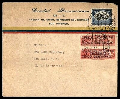 Ecuador Quito Colorful Franking Commercial Cover To Red Bank New Jersey USA
