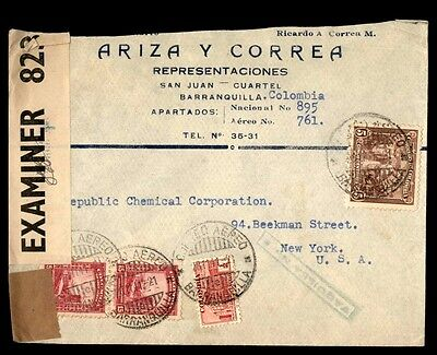Colombia censored cover 823 multifranked to New York City USA