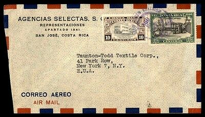 Costa Rica 35 Rte Airmail Cover To New York City Usa From San Jose