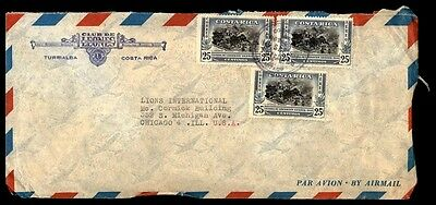 Costa Rica Turrialba commercial Lions Club cover airmail to Chicago IL USA
