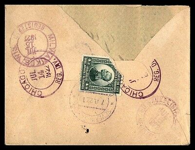 Slovenia 1922 registered single franked cover to Milwaukee WI USA