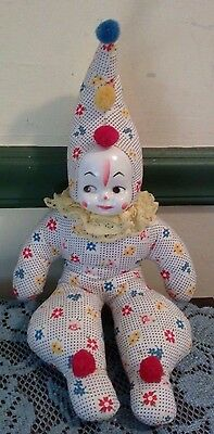 Vintage Cloth Clown Sitting Doll with Plastic Face-1970s Very Colorful!