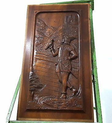 Carved Wood Panel Solid Antique Walnut Knight Falconer Gothic Salvaged Carving