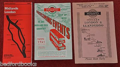 3 Midland Red Leaflets - London to Llandudno, Midlands to London, Future Events