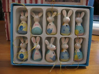 ADORABLE miniature wooden bunny rabbit EASTER Egg tree decorations Set of 10