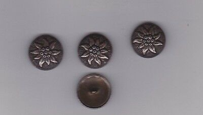4 Vintage Silver Tone  German Buttons, Back Marked Ges V W Gesch. Dated 1900 +