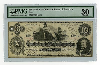Confederate 10 Dollars 1862 T-46 PMG VF 30